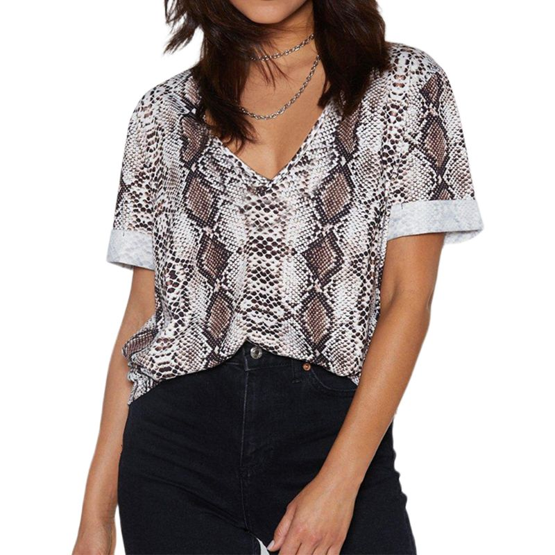 Women Summer Cuffed Short Sleeve TShirt Sexy V-Neck Bohemian Casual Loose  Retro Snakeskin Digital Printing Pullover Top