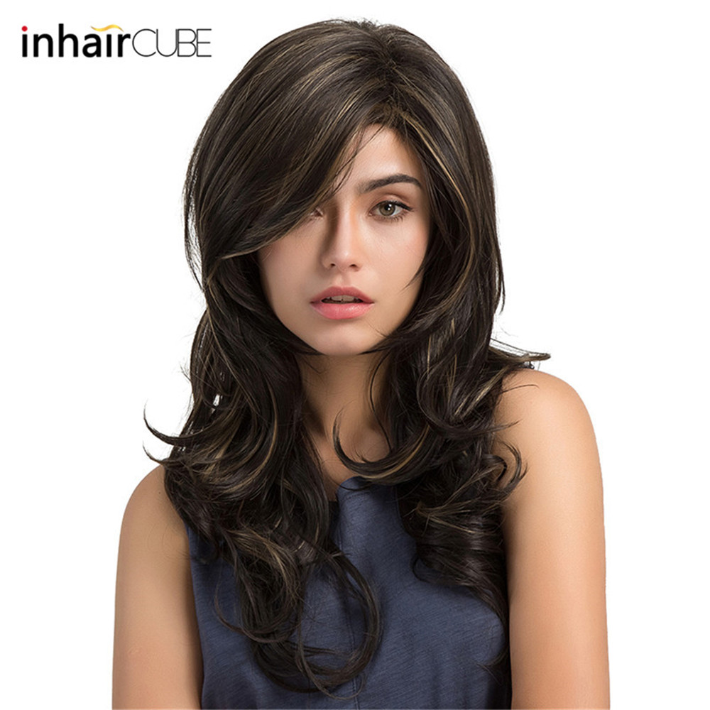 Esin 24 Inches Long Wavy Wigs For Women Dark Brown Highlights Synthetic Wig With Free Hairnet Natural Full Hair Heat Resistant