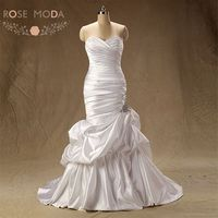 High Quality Slim Mermaid Wedding Dress Caught Up Skirt Lace Up Back Beaded Wedding Dresses Vestidos