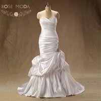 High Quality Slim Mermaid Wedding Dress Caught Up Skirt Lace Up Back Beaded Wedding Dresses Vestidos