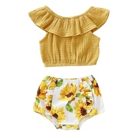 NewRompers Clothes Sets Summer Baby Girl Casual Flare Sleeve Tops T shirt With Floral Print Briefs PP Shorts Outfits Set
