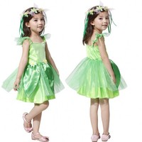 Enfants vert Tinkerbell Costume Fée Princesse Robe-Up Halloween Fantaisie Robe