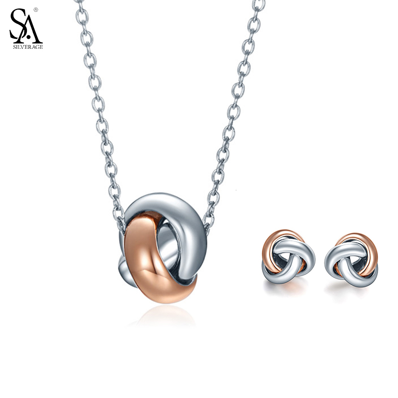 SA SILVERAGE 925 Sterling Silver Jewelry Sets for Women Necklaces Pendants Stud Earrings Fine Jewelry Rose Gold Color 2018 Hot sa silverage genuine 925 sterling silver fine jewelry for women stud earrings black 2018 hot sale