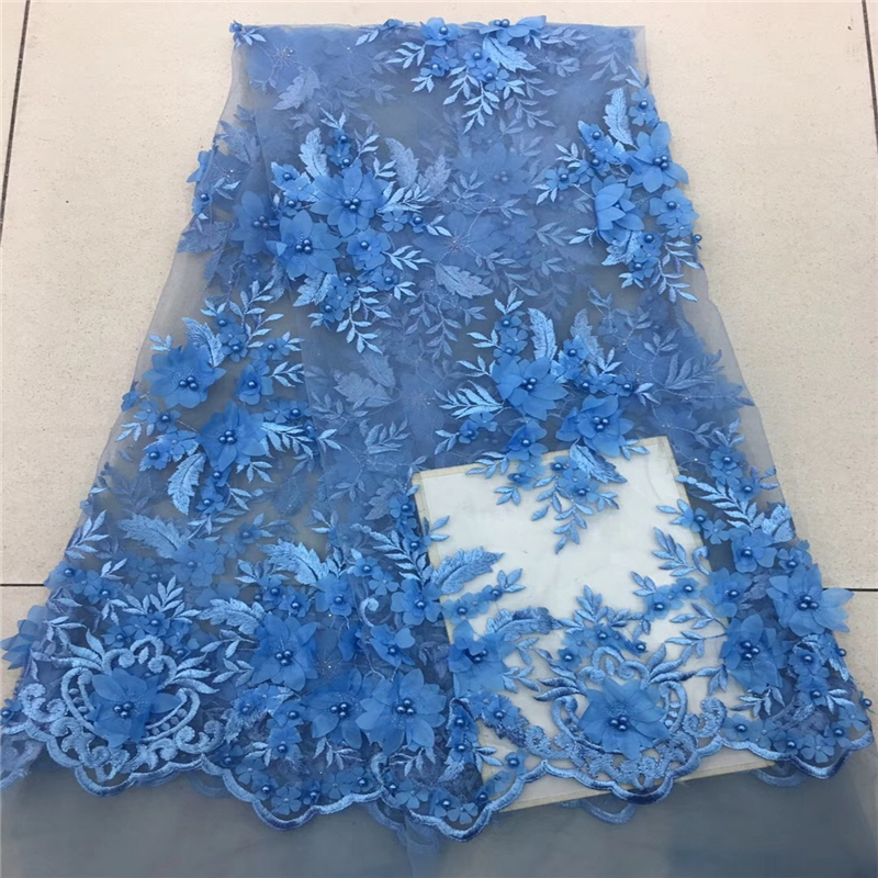 VILLIEA French Net Lace Fabric 3D Flowers African Lace Fabric With Embroidery Mesh Tulle Lace Fabric