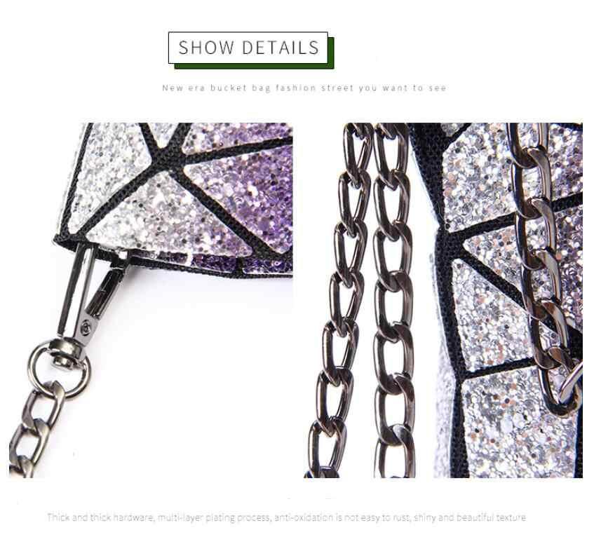 เงือก Ji ยูนิคอร์นสี sequins ribbed สามเหลี่ยมญี่ปุ่นสวยงาม fairy กระเป๋า retro hipster กระเป๋า