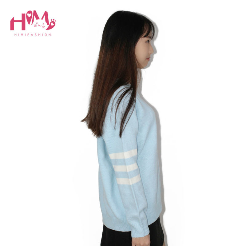 Baby Blue Baby Pink Knitted Sweater Winter Women Shirt Hot Korea Japanese Fashion  6