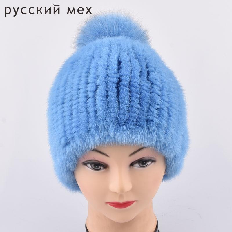 Genuine Mink Fur pom poms Caps Women Knitted Mink Fur Hats With Fur Flower Women Real Fur Beanies Hats Winter