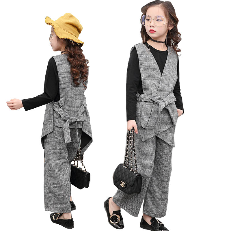 цена Teenage girls clothing set kids tracksuit for girls fashion suit school uniform plaid girls clothes spring 3pcs children clothes