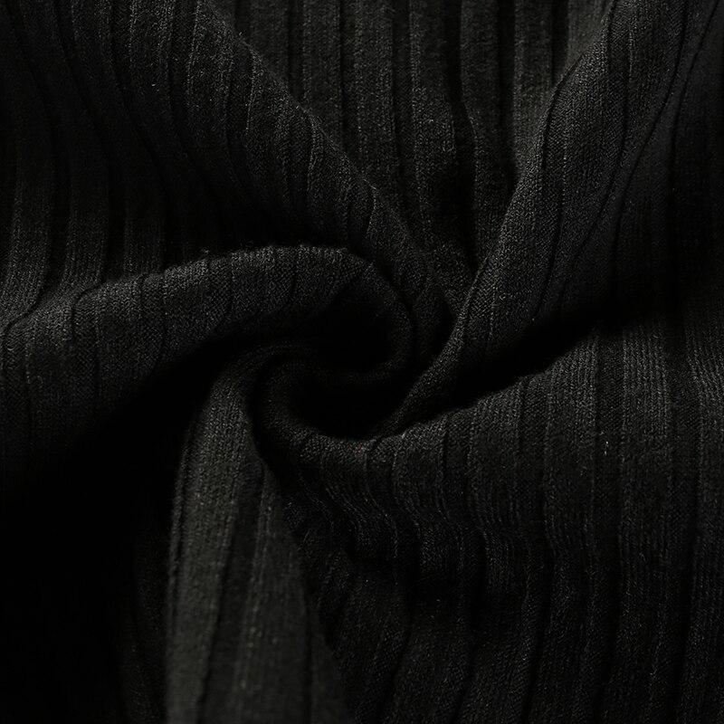 15Sweetown Harajuku Autumn Winter Tshirt Black Korean Fashion Side Zipper Split Shirt Women Striped Crop Top Long Sleeve T Shirt