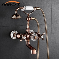 Bathtub Faucets Brass Luxury Rose Gold Bathroom Shower Faucet Set Rainfall Doule Handle Shower System Wall Mounted Tap XT360