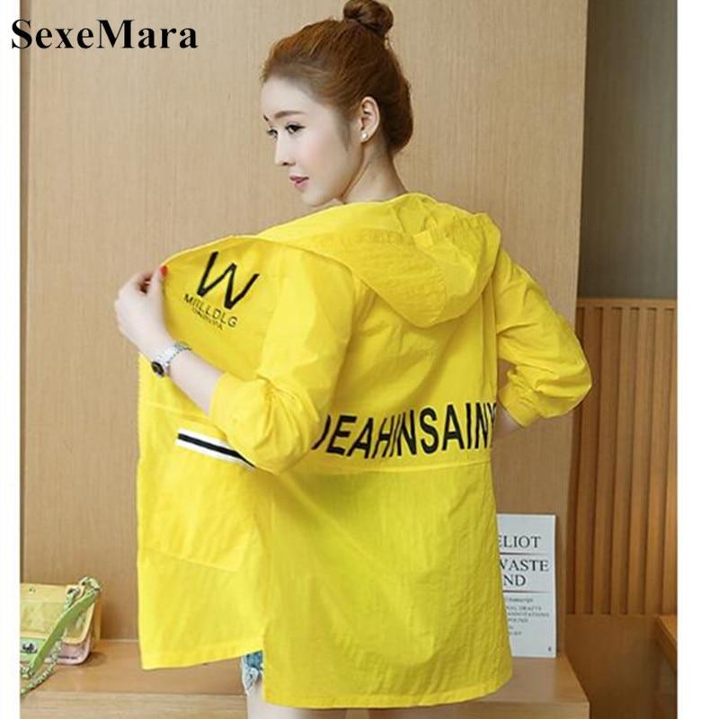 SexeMara 2019 Summer New Female Long-sleeved Sun Protection Clothing Women Sunscreen Coat Fashion Solid Hooded Loose UV Jacket 45