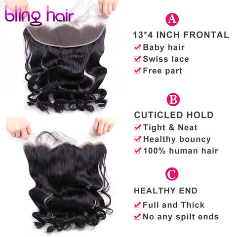 bling hair Loose Wave Lace Frontal Closure With Baby Hair 13*4 Free Part Brazilian Remy Human Hair Natural Color Free Shipping Lahore