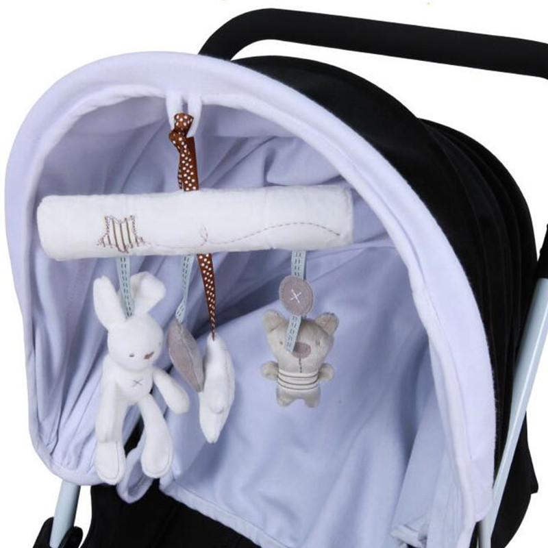 Kaninchen baby musik hängen bett sicherheit sitz plüsch Handglocke Multifunktionale plüsch säuglingsspielzeug Kinderwagen Mobile Geschenke