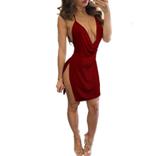 цена на summer sling low-cut dress women's sexy backless V-neck solid color dress high split beach dresses