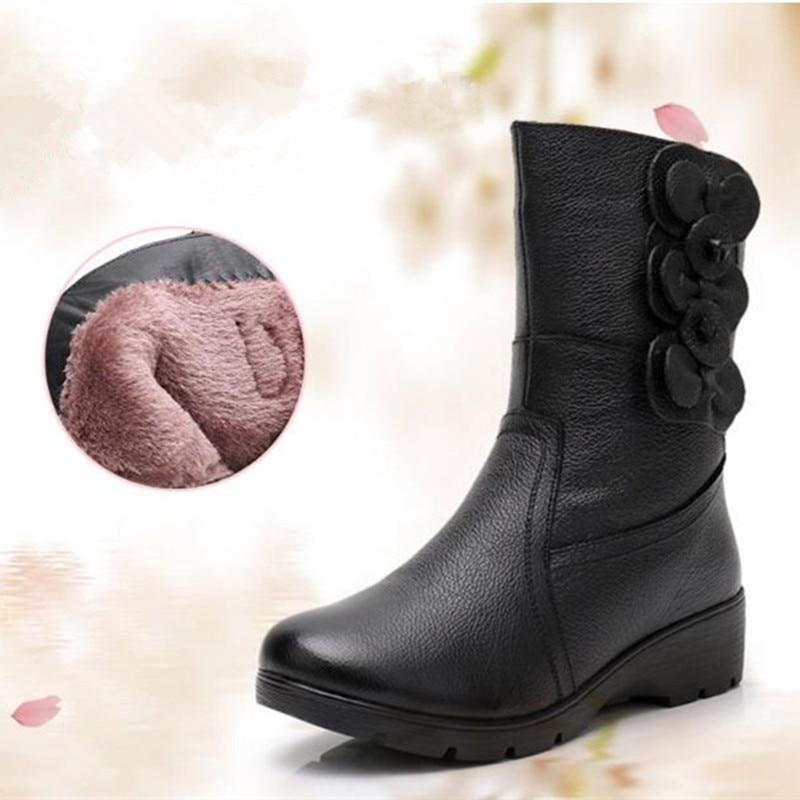 Coins Bottes D'hiver Noir Fleur Non Peau Nouvelles Rétro Femmes Doux Femme Cuir Chaussures Confort slip De 2018 Vache En gybf67