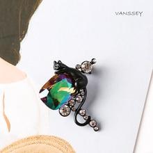 Vanssey Винтаж животных черная кошка радужные ручной работы Стекло Стразы латунь брошь, заколка, аксессуары для Для женщин