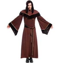 Premier Dark Sorcerer Adult Men Costume Wizard Father Hoody Robe Godfather Clothing WITCH4650