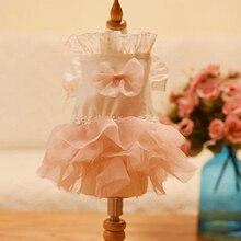 OnnPnnQ платье для собак сетчатая Многоуровневая юбка пачка Одежда для щенков Принцесса Свадебное розовое платье с бантом для маленькие собачки Чихуахуа пуделя