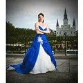 W03012 Um Querido linha Plissada Corpete de Tafetá Azul e Branco Vestidos De Casamento 2017