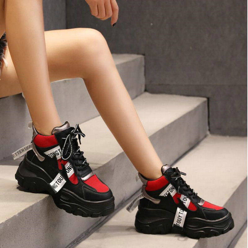 Woman Sneakers Breathable Sport Shoes White Black Outdoor Walking Sneakers Female Lace Up Platform Jogging Running Shoes ND-26