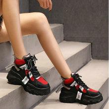 Женские кроссовки дышащие спортивные туфли белые черные уличные Прогулочные кроссовки женские на шнуровке платформа беговые кроссовки ND-26