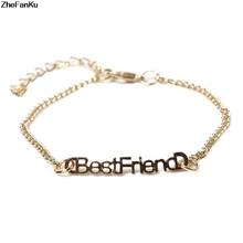 0a527bf72b85 Gargantilla pulsera Bestfriend pulsera cadena plata oro-color pulsera para  las mujeres Popular en América amistad pulseras