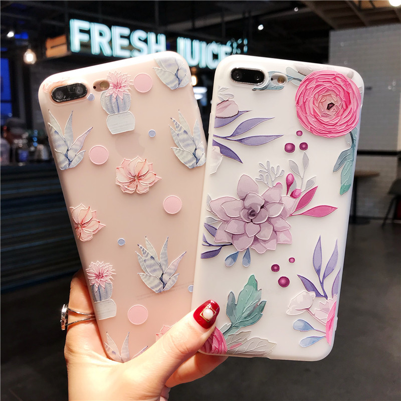 BIGCHEN Flower Patterned Case For iPhone 6 6s 7 Plus Cover Soft Silicone Floral Protect Cover For iPhone 5S SE 8 Plus X 10 Capa