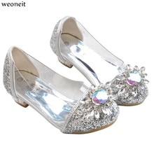 Weoneit 2019 NEW Girls High Heels Children Princess Flower Fashion Shoes  Kids Pink Silver School Wedding 22347ccb9e5d