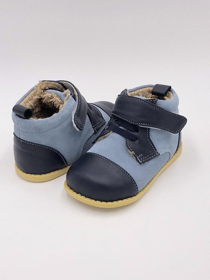 Tipsietoes ブランド高品質の革のステッチキッズ子供ソフトブーツ学校の靴男の子 2020 秋冬 21403 ファッション -