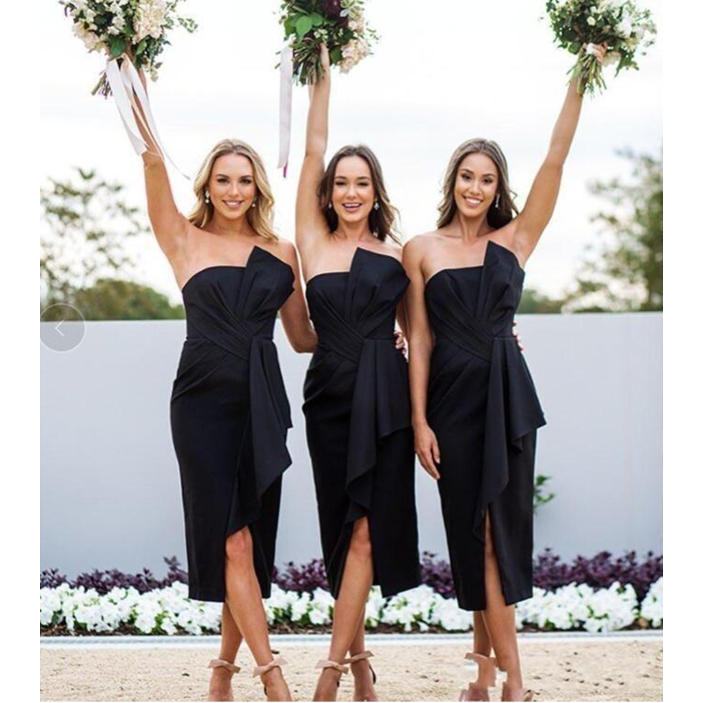 Short Black   Bridesmaid     Dresses   Strapless Sheath Pleat Satin Tea Length Elegant Wedding Guest   Dress   2019 Custom Made Women Gowns
