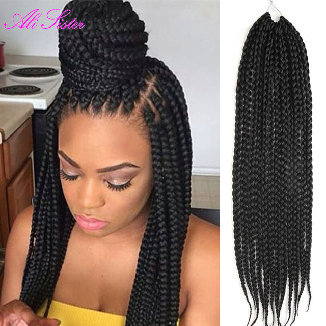 Box braids hair synthetic hair xpression braiding hair crotchet braids synthetic braiding hair - Crochet braids avec xpression ...
