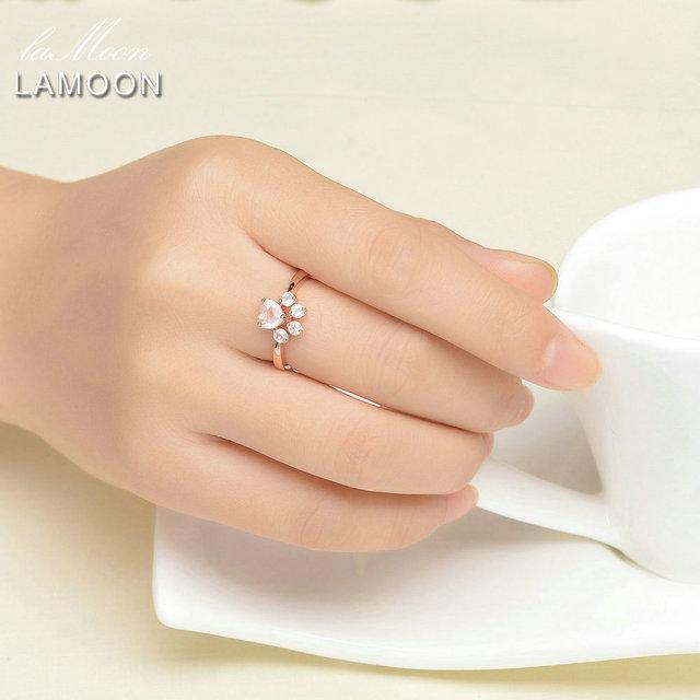LAMOON Adjustable wedding Ring Animal Clam Pink Natural Gemstone Rose Quartz 925 Sterling Silver Fine Jewelry For Women LMRI027