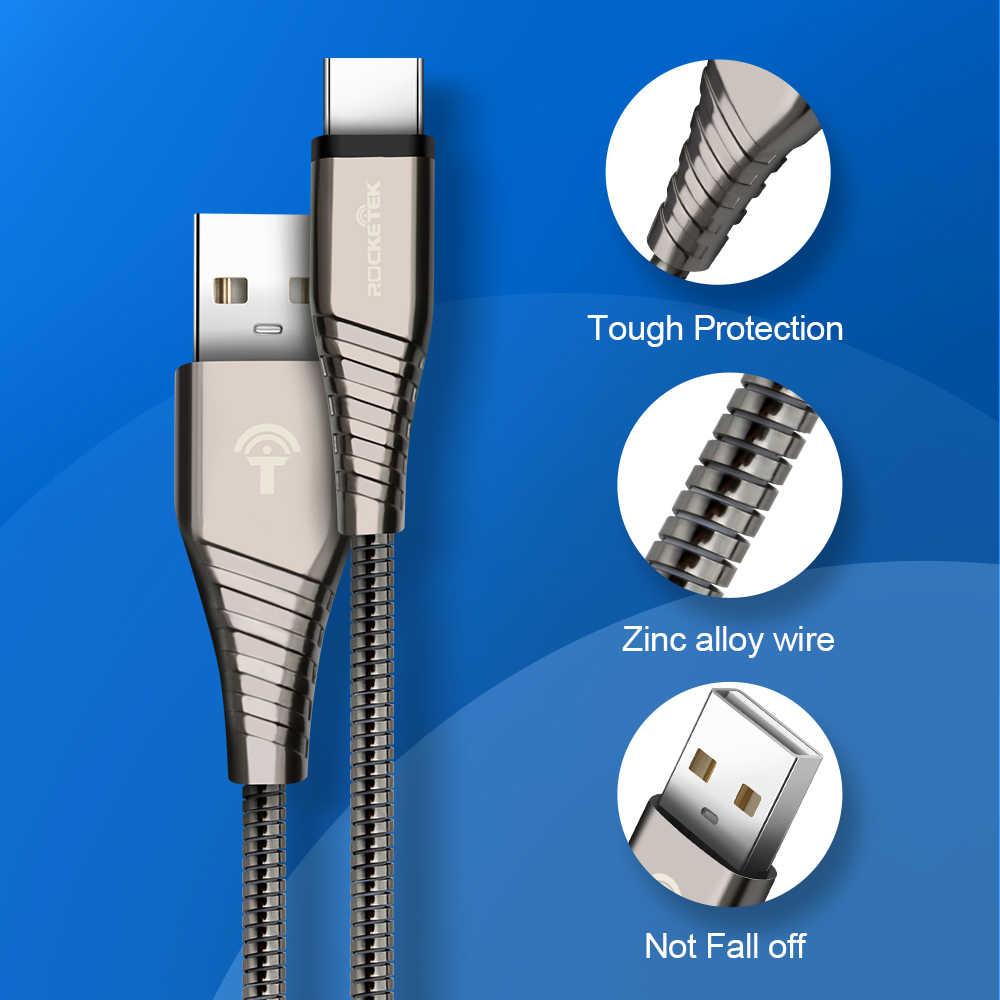 Rocketek USB نوع C كابل مايكرو USB-C الهاتف المحمول 3A شحن سريع نوع-C لسامسونج غالاكسي S9 S8 زائد شاومي redmi نوت 5 7
