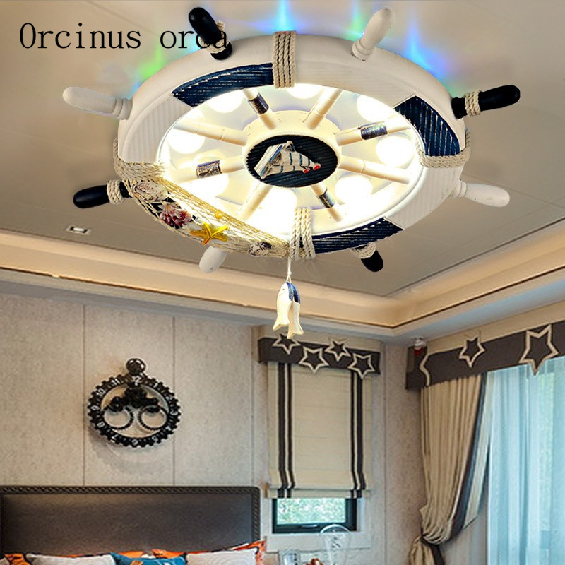 Mediterranean Rudder Ceiling Lamp Childrens Room Creative Lighting Personality Cartoon Boy Girl Bedroom Childrens Lamp Ceiling Lights & Fans