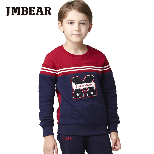 JMBEAR 6-14 years boys thick t-shirt autumn/spring pullover hoodies cotton t shirt kids clothes children tee 2016 new