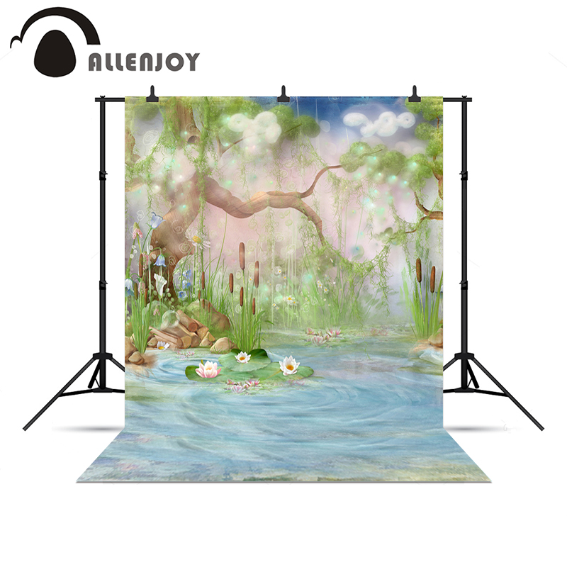 Allenjoy Photo background Tree River lotus firefly children Wonderland Photophone christmas photo backdrop new Year