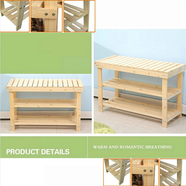 80x29x46cm Solid Pine Wood Shoe Rack Shelf Storage Scoop Chair Of Nature Color