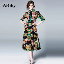 Women Dress Summer Dress ARiby 2019 New French Retro Drill Butterfly Knot Waist Pleated Printed Lapel Half-sleeved A-Line Dress anne klein new women s size 2 pink printed collared a line pleated dress $119 page 4