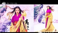 2014 New Arrival Photography Costume Ancient Chinese Sword Lady Purple Sexy Costume Drunk at Sea Laugh at Beauty Canghaizui