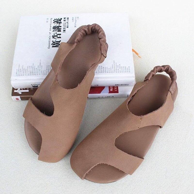 Sandales pour femmes chaussures d'été 100% authentique cuir bride à la cheville sandales plates chaussures femme (6958-2)