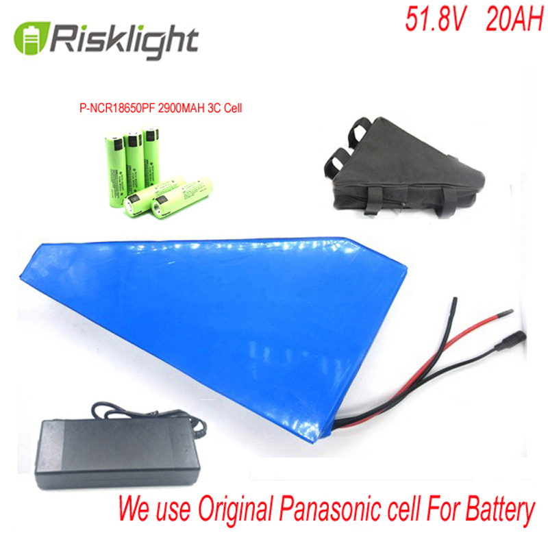 battery pack 51.8v 1500w Electric Bike battery 52V 20Ah triangle Lithium ion battery for 48V 8fun 1000W motor For Panasonic cell free customs taxe 48v 1000w triangle e bike battery 48v 20ah lithium ion battery pack with 30a bms charger and panasonic cell