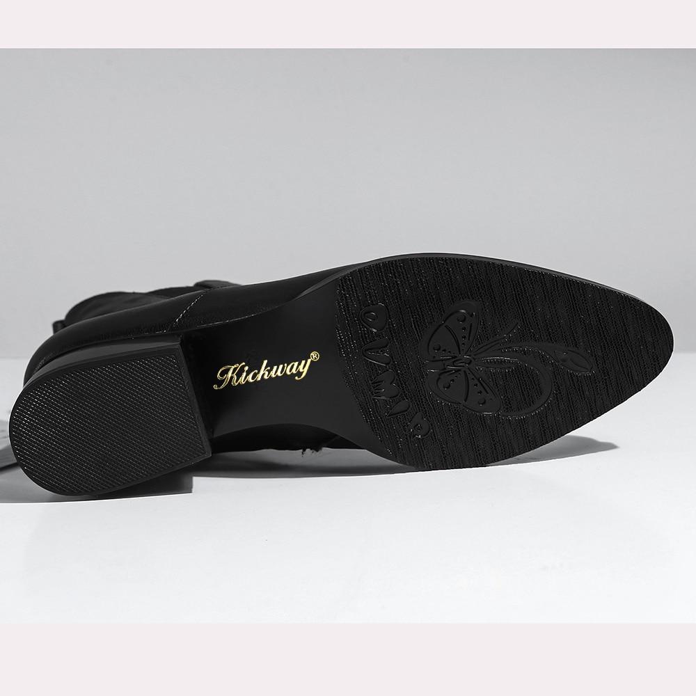 Zipper Bout 34 black Kickway Bottes Black De D'hiver 42 Chunky Femme Short Femmes Rond Botas Bottines 2018 Pu Talon Plush Inside Chaussures Noir Fourrure Marque qpvTPFwq