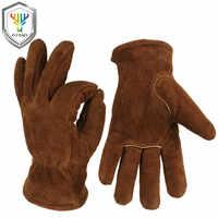 OZERO Männerarbeit Fahrer Handschuhe Rindsleder Winter Warme Kaschmir Winddicht Sicherheit Schutz Tragen Sicherheit Arbeits Frau Handschuhe 2008