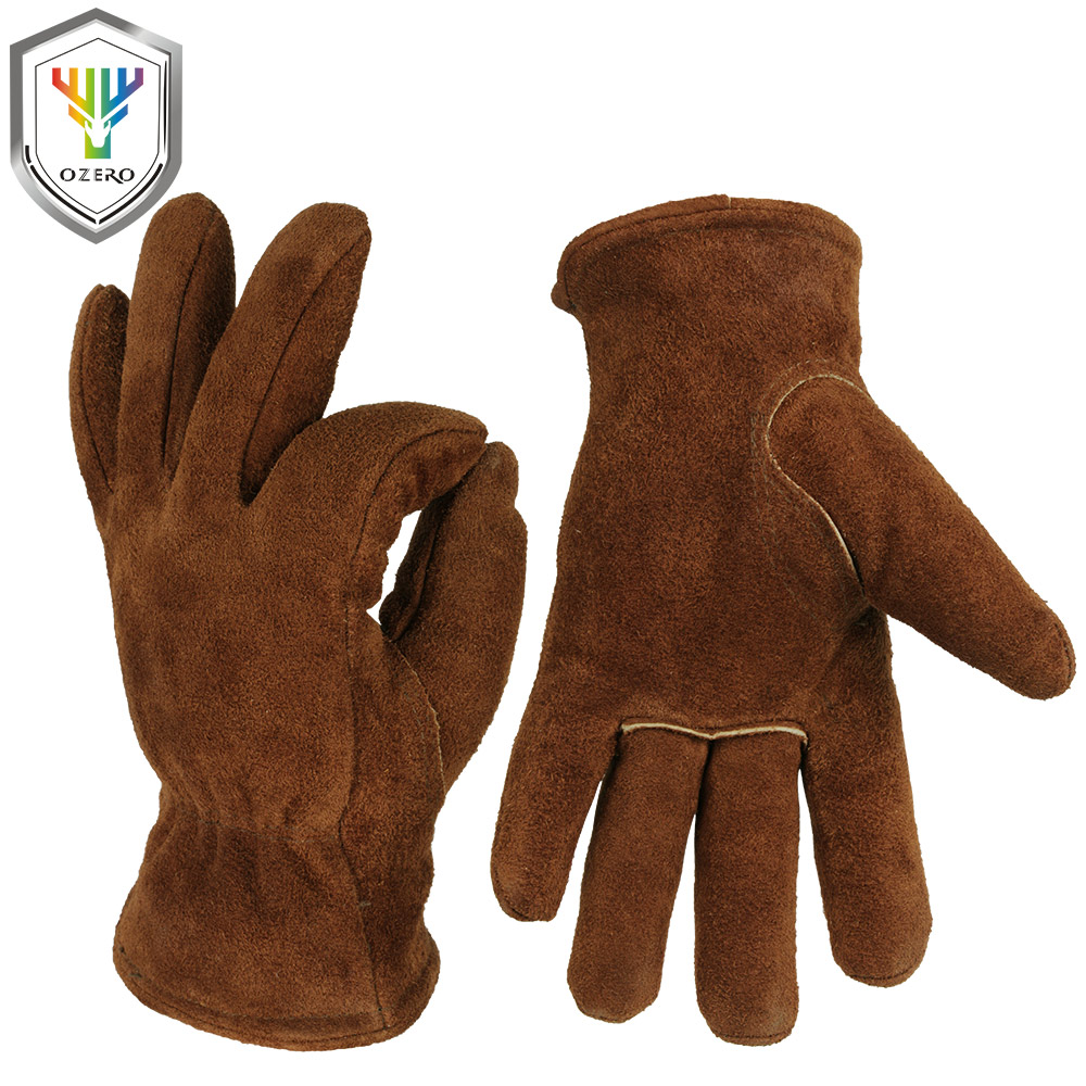 OZERO Men's Work Driver Gloves Cowhide Winter Warm Cashmere Windproof Security Protection Wear Safety Working Woman Gloves 2008