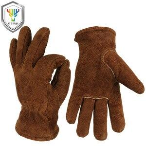 Image 1 - Мужские рабочие перчатки OZERO, теплые зимние кашемировые перчатки из воловьей кожи, с защитой от ветра, 2008