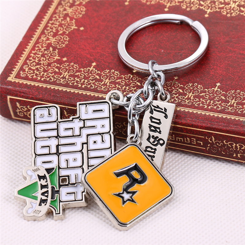 Julie 10Pcs/lot PS4 GTA 5 Game keychain Grand Theft Auto 5 Key Chain For Fans Xbox PC Rockstar Key Ring Holder Jewelry Llaveros