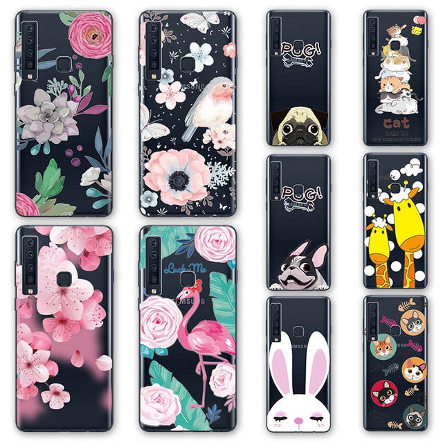 super popular 0cfcd d443c US $0.93 20% OFF 3D Emboss Flamingo Phone Case Bags For Samsung Galaxy A7  2018 Cartoon Peach Lace Silicone Back Cover For Samsung A9 2018 A9S -in ...