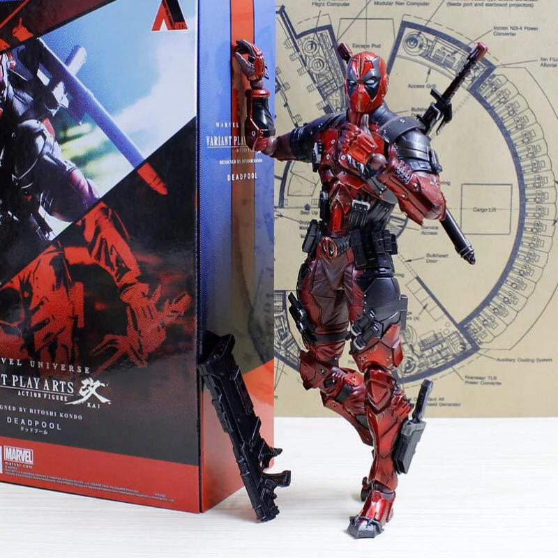 все цены на 26cm Play Arts Kai Deadpool Wade Winston Wilson X-men Anime Action Toy Figures Pvc Model Collection Kids Lover Children Gift