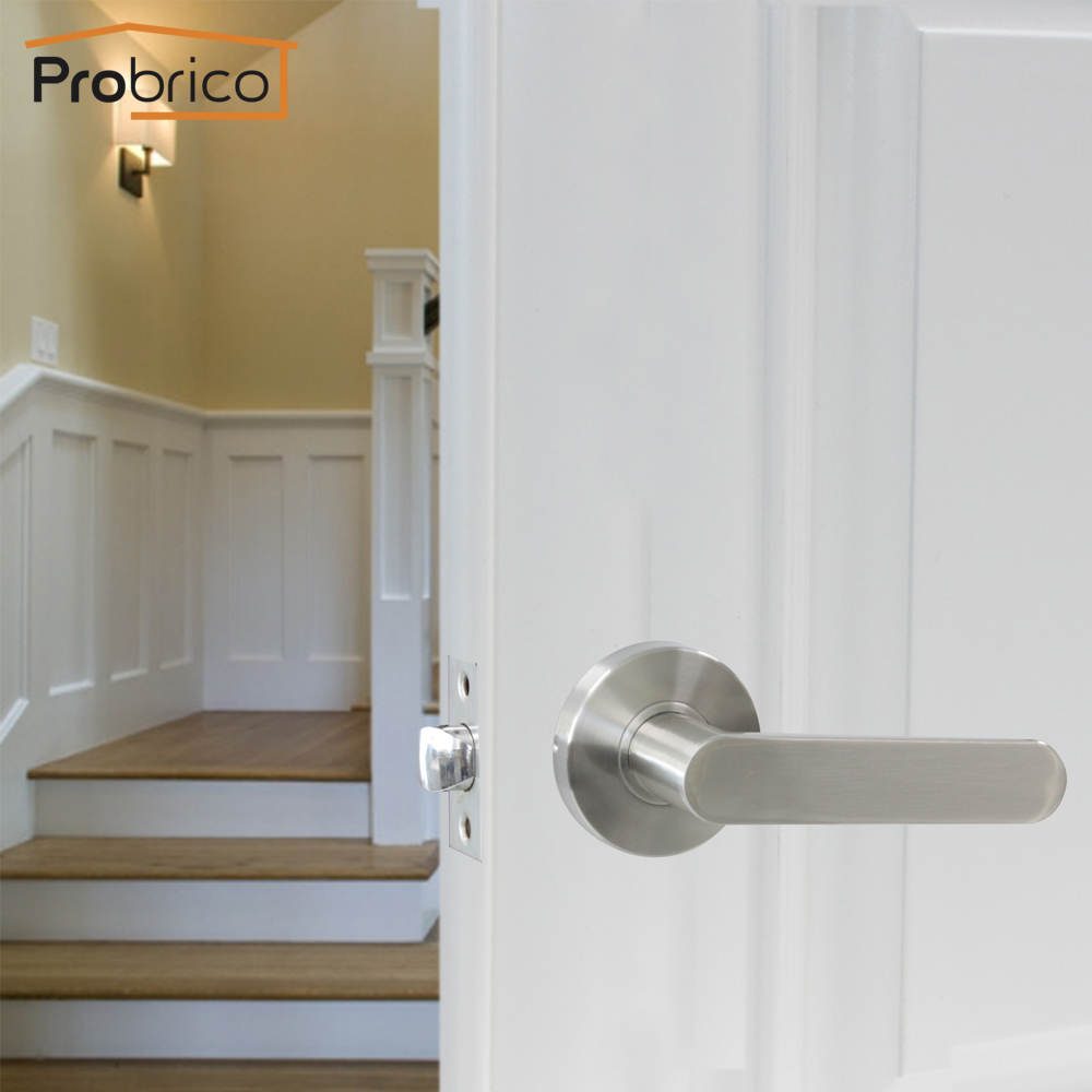 Probrico Stainless Steel Round Passage Keyless Door Lock Set