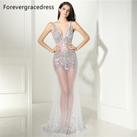 Forevergracedress Sexy Illusion Prom Dress Backless Deep V Neck Beaded Crystals Long Formal Party Gown Plus